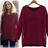 maglione di lavoro a maglia barrato modo inferiore 2slitted per la signora/donne