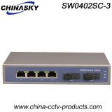 Interruptor completo óptico portuario de Ethernet del gigabit 4 RJ45 con Sc 2 (SW0402SC-3)