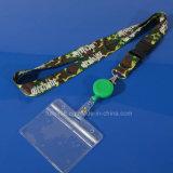 Sagola tessuta stampata promozione su ordinazione della cinghia del collo con il supporto di scheda di identificazione