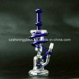 Blauer Farben-Nizza Entwurfs-Recycler-rauchendes Wasser-Glasrohr mit männlicher Verbindung