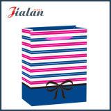 Rayas del papel de arte y bolsa de papel laminadas brillantes del regalo de las compras del Bowknot