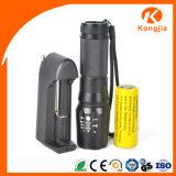 Lanterna elétrica tática Xml-T6 do zoom de alumínio recarregável ultra brilhante do diodo emissor de luz 26650