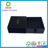 Rectángulo de empaquetado de la correa negra de encargo del regalo con la impresión de la marca de fábrica