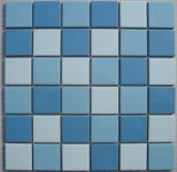 プールのための青い磁器の陶磁器のモザイク