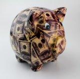 Tirelire de plein d'étiquette de Hotsale or en céramique de porc pour des gosses