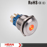 Interruttore di pulsante illuminato anello impermeabile del livello 3V LED di protezione IP67 dell'UL 25mm del Ce