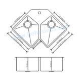 Gootsteen van de Staaf van het Roestvrij staal van de Kom van de V-vorm de Dubbele Met de hand gemaakte, de Gootsteen van de Keuken Handcraft (HMRD3322)