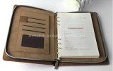 ハンドメイドのジッパーA4 A5 PUの革立案者のオルガナイザーの議題のノート