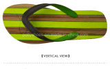 Mens-grüne Gummiflipflop-Sandelholz-Streifen