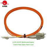 Câble optique unimodal duplex recto de pièce rapportée de fibre multimode de Sc PC/Upc/APC