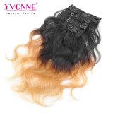 Grampo de cabelo humano de Ombre da onda do corpo nas extensões