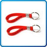 Braccialetto di gomma del silicone con la clip e l'anello portachiavi nichelati del metallo