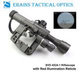Padrão militar Riflescope com espaço iluminado vermelho do rifle do Reticle de Svd 4X24-1