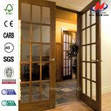 Puerta de cristal moldeada laminada de madera sólida