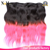 9A Dois tons Ombre Peruvian Human Human Remy Hair Cabelo vermelho / Pink Weave Hair