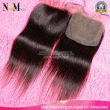 漂白される10/12/14/16/18/20インチはブラジルのまっすぐなレースの閉鎖の人間の毛髪を結ぶ
