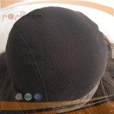 El color caliente europeo de Brown de la franja golpea la peluca atada mano completa del cordón