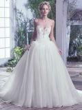 Vestido de casamento 0059 com a saia inchado fora do vestido nupcial Strapless do Neckline frisado branco