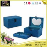 心がある整形ミラー(6289)が付いている青い流行の正方形の宝石箱