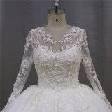 Vestido de casamento longo nupcial de cristal dos Sequins das luvas dos vestidos de esfera