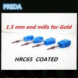 moinhos de extremidade de 1.5mm para o router do CNC da alta qualidade do ouro