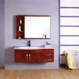 Просто установленный стеной шкаф ванной комнаты твердой древесины с зеркалом