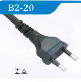 Cabo distribuidor de corrente de Brasil 2-Pin da aprovaçã0 de Inmetro com plugue (B2-20)