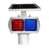 Luz de advertencia de seguridad vial azul rojo flash LED Solar