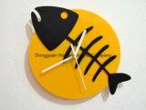 Силуэт косточки рыб - черный & желтый - часы стены