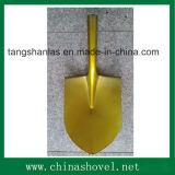 Schaufel-goldener Farben-runder Punkt-Stahlschaufel und Spaten