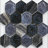 Crackle Ice Ceramic를 가진 2016년 포도 수확 Hexagonal Glass Mosaic Tiles