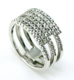 Silver sterlina Jewelry Ring con la CZ Wholesale Ring per Lady R9986-3