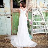 weg Schulter-vom weißen Chiffon- Strand-Hochzeits-Kleid (SA003)