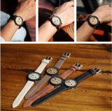 Do relógio de madeira ocasional de madeira da cinta de couro da cor dos relógios dos homens de quartzo de Relojes da simulação Yxl-856 relógio de pulso masculino de madeira Relogio Masculino