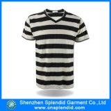 Custom Logo Printed를 가진 V-Neck Stripe Plain Cotton T-Shirt