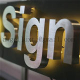 Parede da palavra do aço inoxidável 3D da escova da personalização que anuncia a letra do sinal