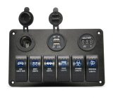 Водоустойчивые Marine/Boat Car Switch Panel 6 Gang с USB Charger Voltage Indicator и Power Socket Blue СИД Light 5pin включено-выключено Rocker Switch