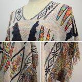 Poncho tricoté par mode de V-Collet de femmes