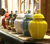 Scegliere la scatola metallica di ceramica lustrata della zucca (LJ-130)