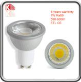 projecteur coté de 7W ETL 630lm GU10 DEL