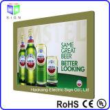 Sinal magnético da cerveja de Frameless que anuncia o indicador com a caixa leve de cristal da folha acrílica