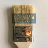 Pinceau à peinture (pinceau, brosse plate à poils blancs pur avec poignée en bois souple)