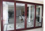 Portello scorrevole di alluminio del grano di legno/portello di vetro di scivolamento