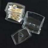 Rectángulo de almacenaje de acrílico claro del brote del algodón del sostenedor de las esponjas de algodón