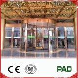 Puerta giratoria de cristal automática real con el color del oro para el departamento grande o el edificio comercial