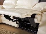 Salón blanco del asiento y de la calesa del Recliner del color con el sofá de la esquina del cuero del almacenaje