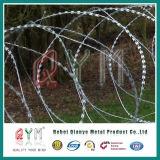 上またはアコーディオン式かみそりワイヤー刑務所の塀のかみそりワイヤーが付いている空港塀
