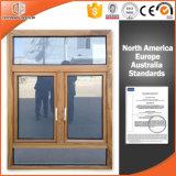 Finestra di alluminio della stoffa per tendine della rottura termica placcata di legno solido, finestra di alluminio della stoffa per tendine dell'Calore-Isolamento con il cerchio fisso superiore