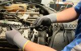 Полиэфир связал работая перчатки при нитрил пены, поставленный точки на ладони (N1560)