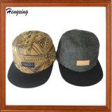 Le cuir gravent les chapeaux 5-Panel floraux de logo
